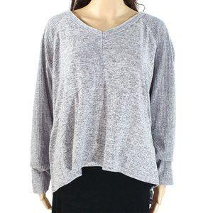 INC Women's V-Neck Ribbed Sleeve Sweater
